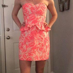 Britt Ryan Pink Floral Strapless Peplum Mini Dress